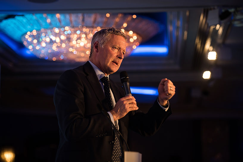 Rory Bremner delivering an after dinner speech